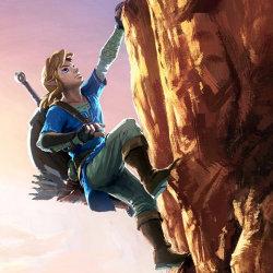NX WiiU「ゼルダの伝説」、リンクがロッククライミング新イラスト。不思議な世界観