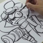 スプラトゥーン、ゴーグルくんをひのでや参吉先生がイカ墨で描く動画が公開