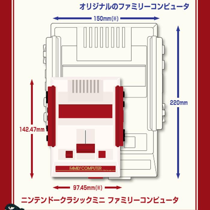 ニンテンドークラシックミニ ファミリーコンピュータ、コントローラーのサイズ
