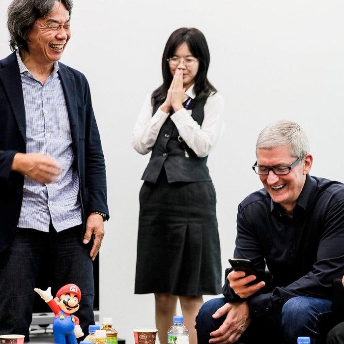 任天堂の本社、アップルのティムクックCEO、宮本茂氏と面会
