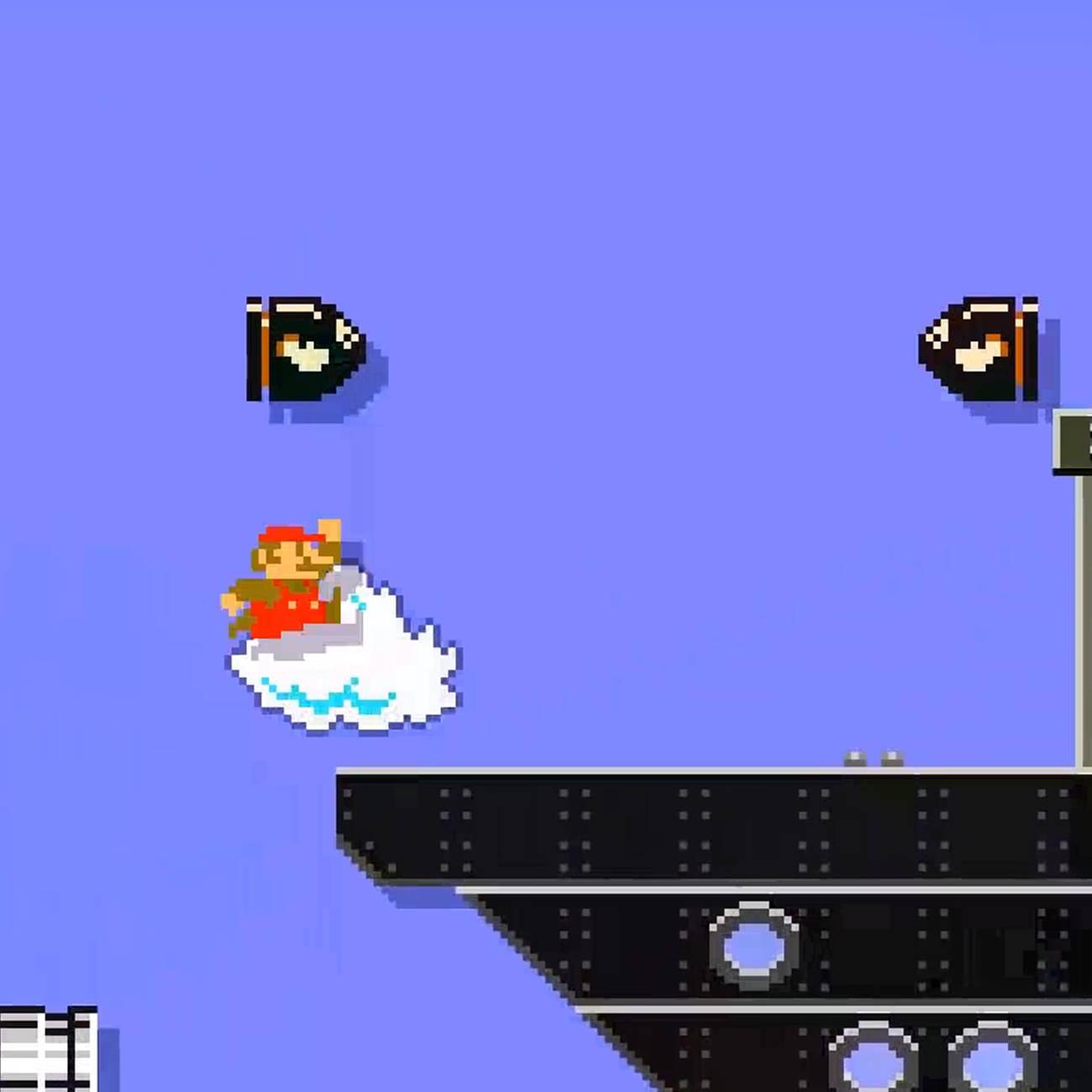 スーパーマリオメーカー2、薄く映っている船と羽アイコン