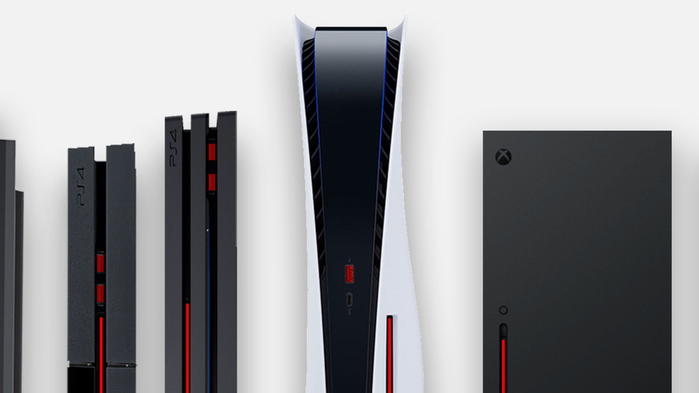 PS5、サイズ比較。歴代プレイステーションで一番大きい